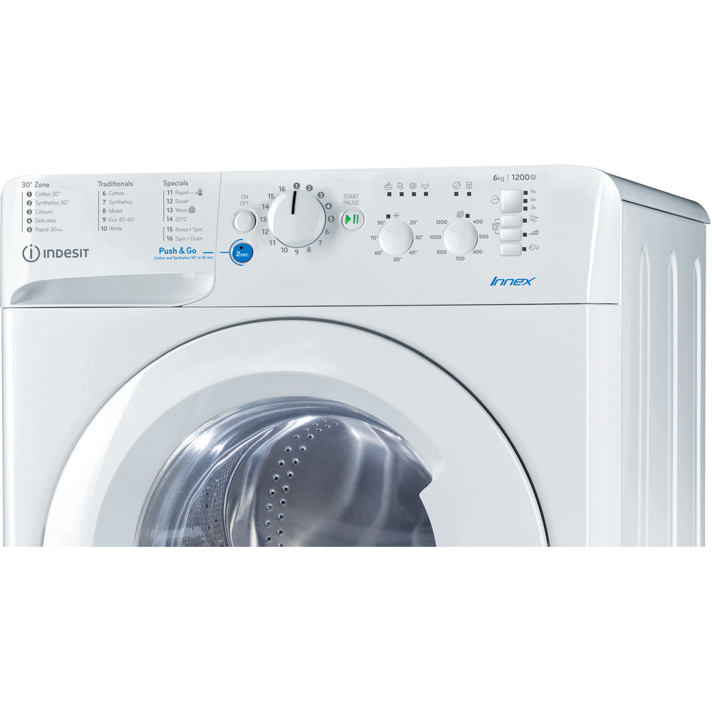 Indesit Washing machine Free-standing BWSC 61251 XW UK N White Front loader F Control panel