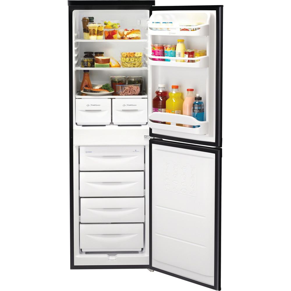 Indesit Fridge-Freezer Combination Free-standing IBD 5517 B UK 1 Black 2 doors Frontal open