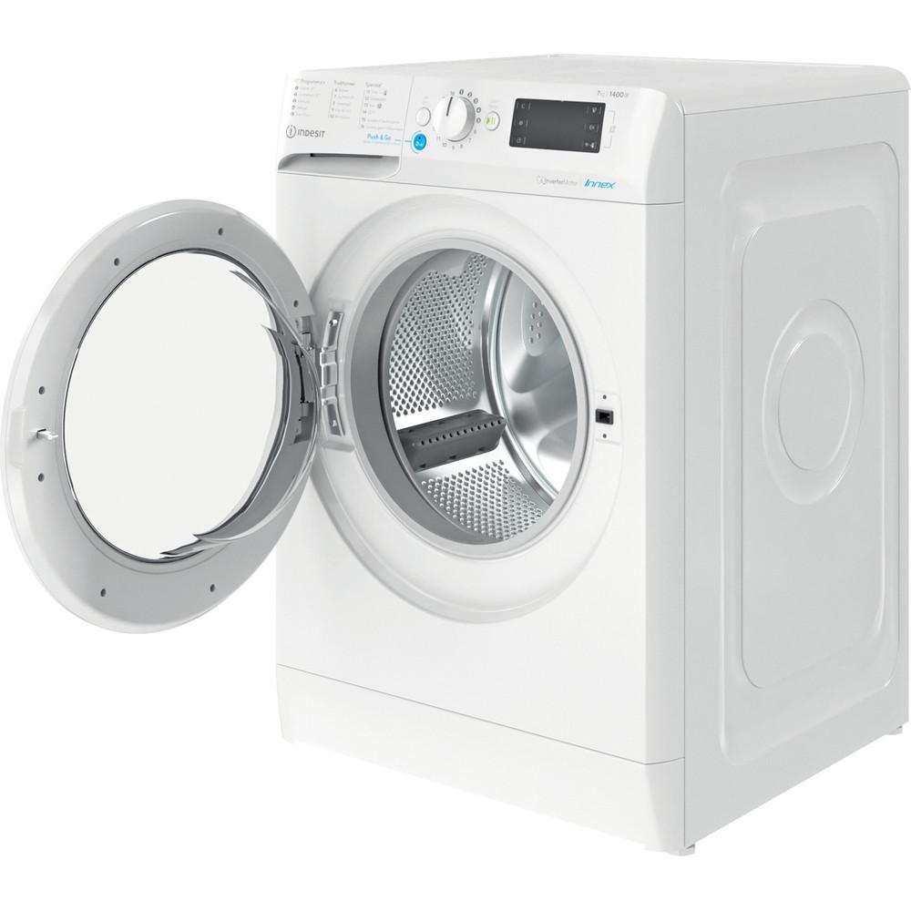 Indesit Wasmachine Vrijstaand BWENL 71483X W N Wit Voorlader D Perspective open