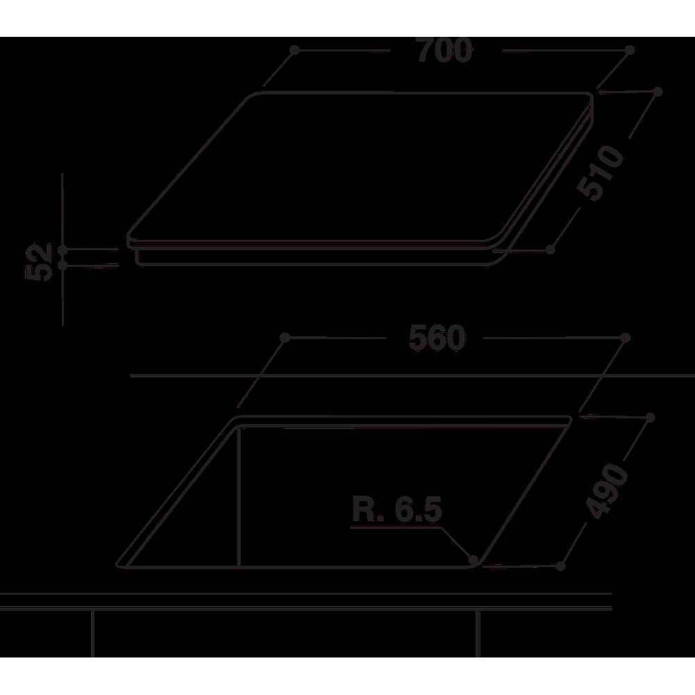Indesit Koketopp VID 741 B C Svart Induction vitroceramic Technical drawing