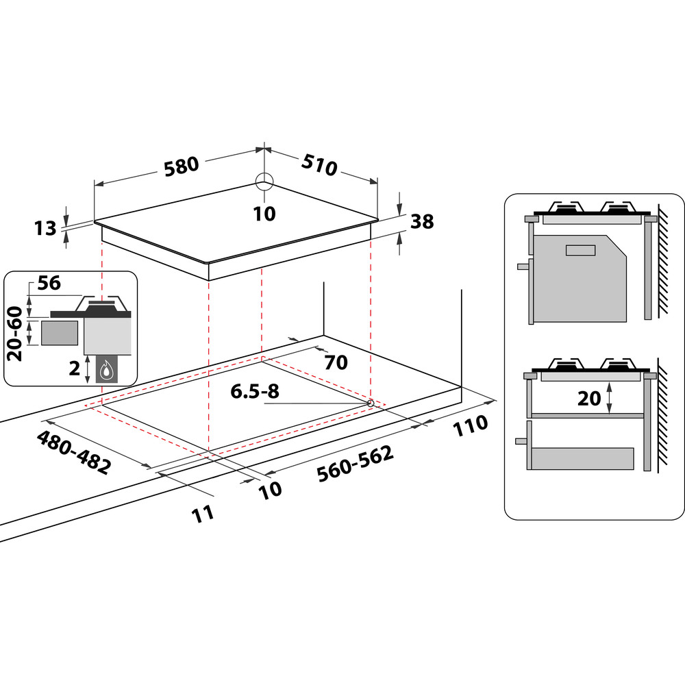 Indesit HOB THA 642 IX/I Inox GAS Technical drawing