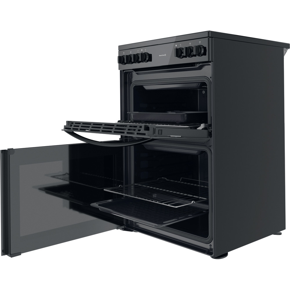 Indesit Double Cooker ID67V9KMB/UK Black B Perspective open
