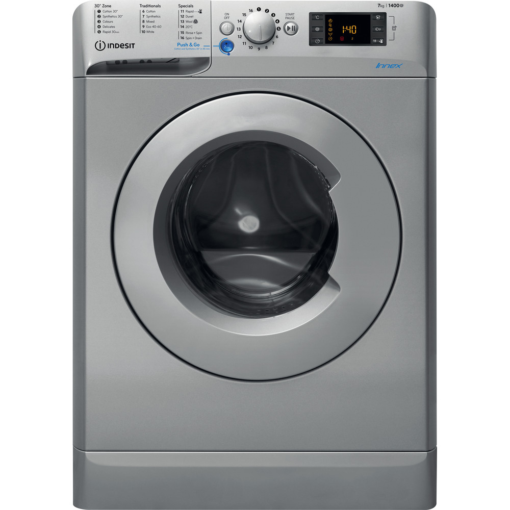 Indesit Washing machine Free-standing BWE 71452 S UK N Silver Front loader A+++ Frontal