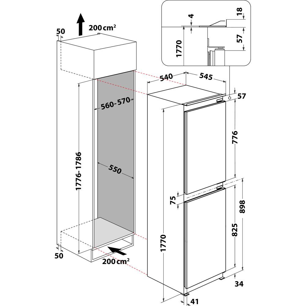 Indesit Fridge-Freezer Combination Built-in E IB 15050 A1 D.UK 1 White 2 doors Technical drawing
