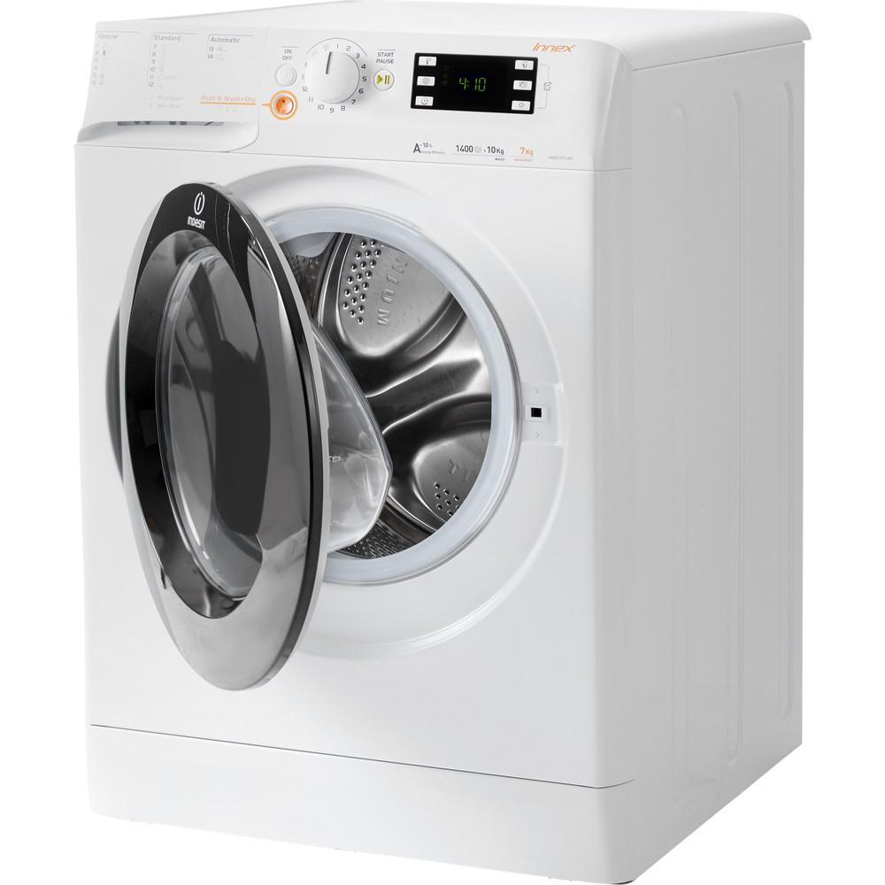 Indesit Vaskemaskin med tørketrommel Frittstående XWDE 1071481XWKKK EU Hvit Front loader Perspective open