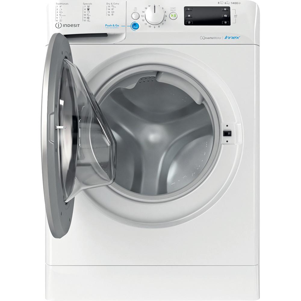 Indesit Kombineret vaskemaskine/tørretumbler Fritstående BDE 861483X WS EU N Hvid Frontbetjent Frontal open