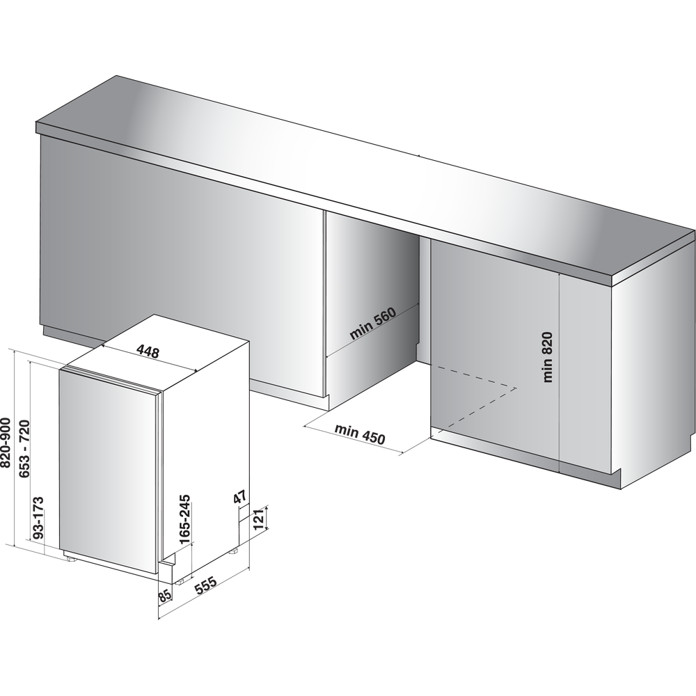 Indesit Посудомоечная машина Встроенная DSIE 2B10 Full-integrated A+ Technical drawing