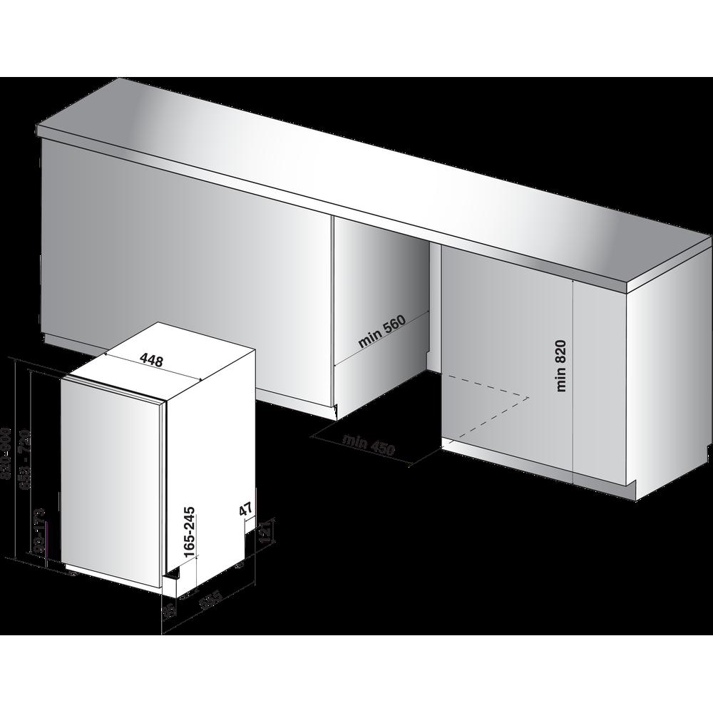 Indesit Perilica posuđa ugradbeni DSIE 2B10 Full-integrated A+ Technical drawing
