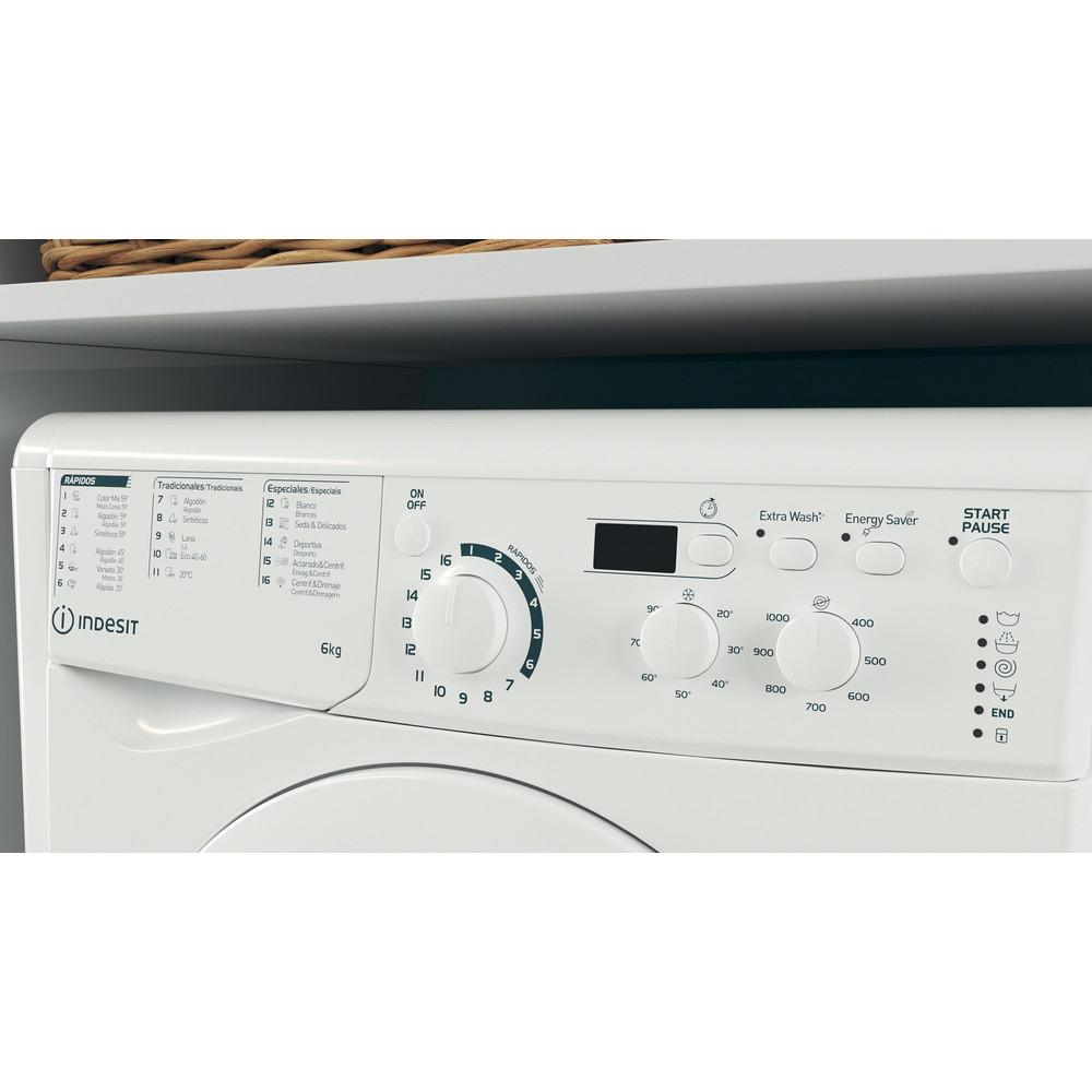 Indesit Lavadora Libre instalación EWD 61051 W SPT N Blanco Cargador frontal F Lifestyle control panel