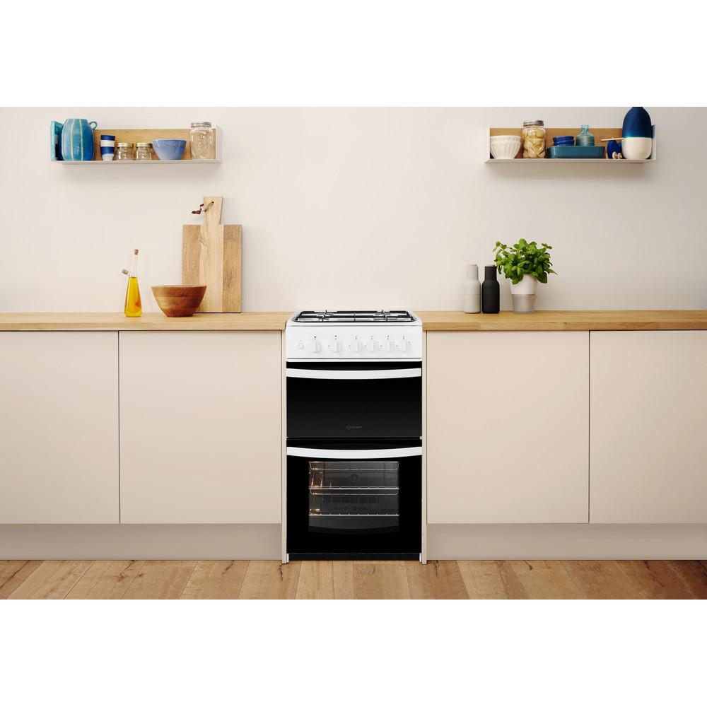 Indesit Double Cooker ID5G00KMW/UK White A+ Enamelled Sheetmetal Lifestyle frontal