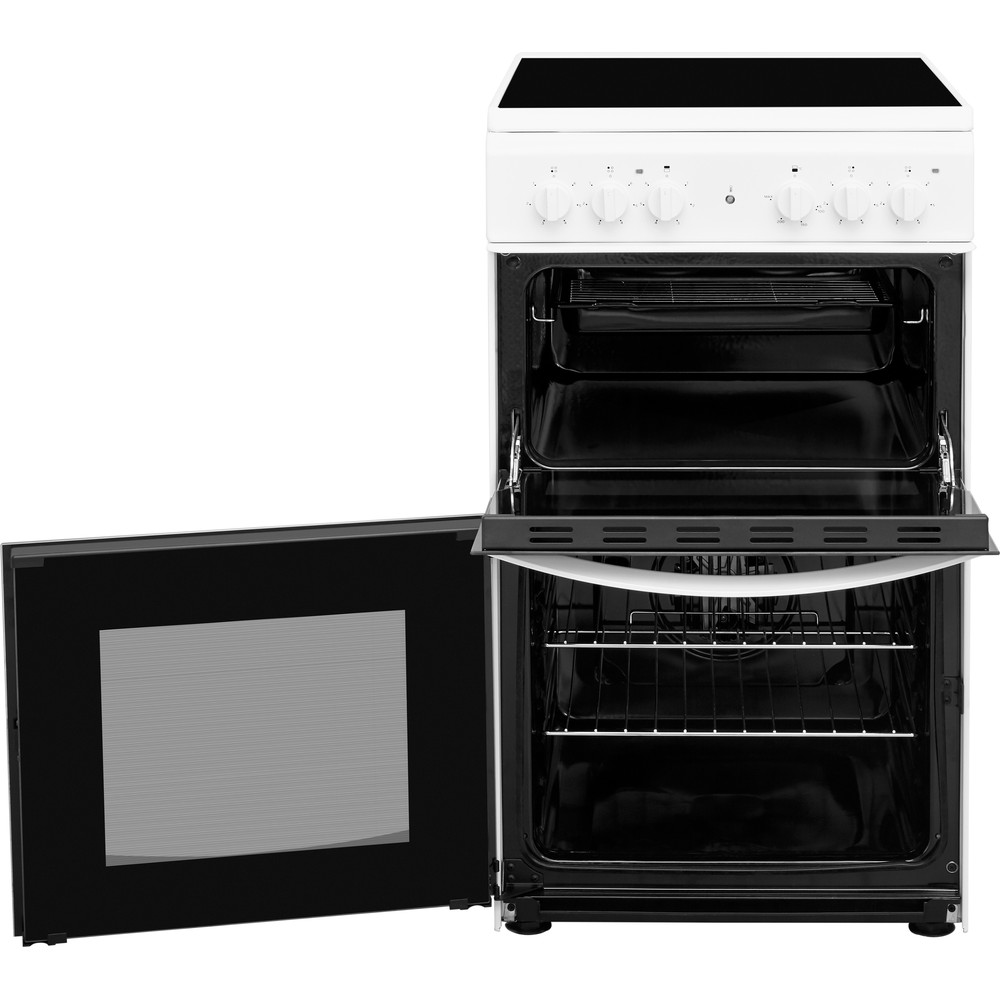 Indesit Double Cooker ID5V92KMW/UK White A Vitroceramic Perspective open