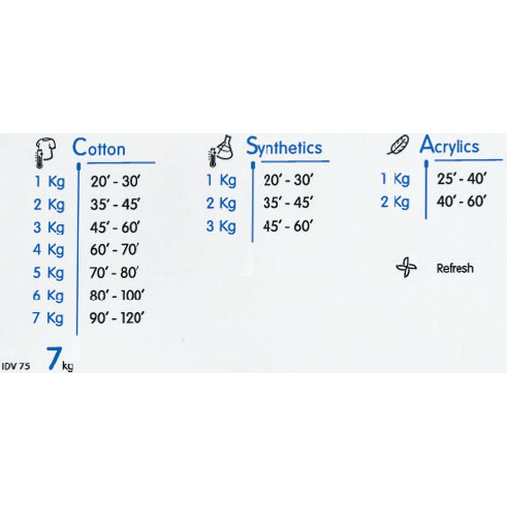 Indesit Dryer IDV 75 (UK) White Program