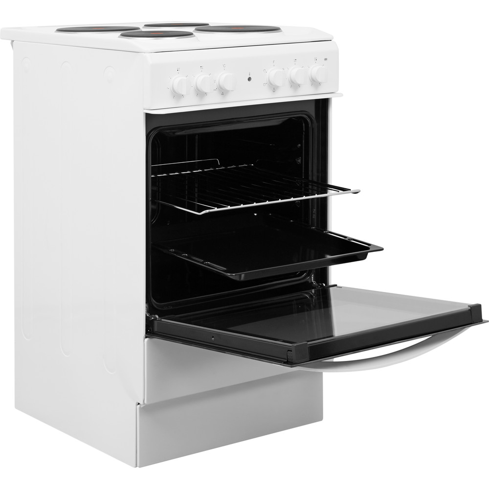 Indesit Cooker IS5E4KHW/UK White Electrical Perspective open
