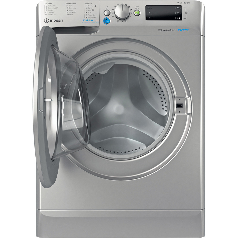 Indesit Washing machine Free-standing BWE 91483X S UK N Silver Front loader D Frontal open