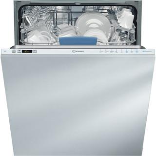Εντοιχιζόμενο πλυντήριο πιάτων Indesit: πλήρες μέγεθος 60εκ, λευκό χρώμα