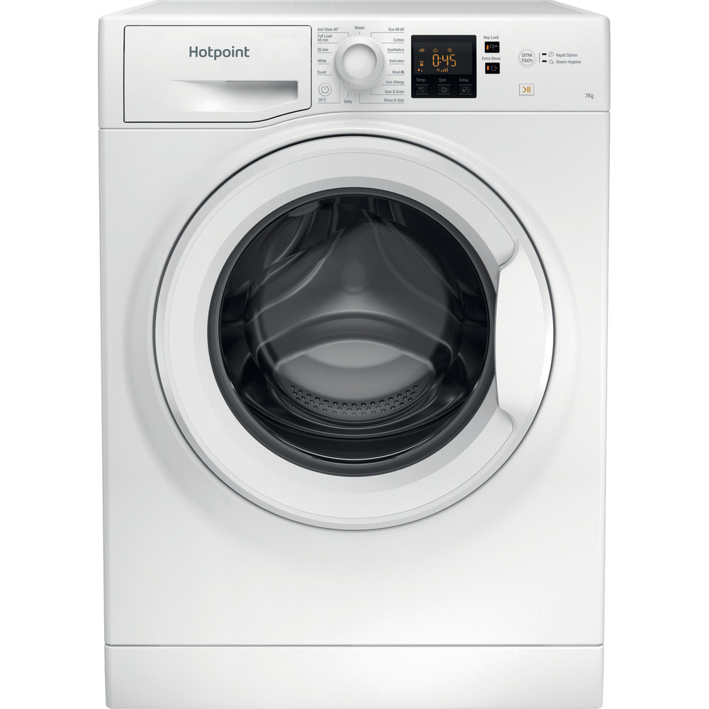 Hotpoint Washing machine Free-standing NSWM 742U W UK N White Front loader E Frontal
