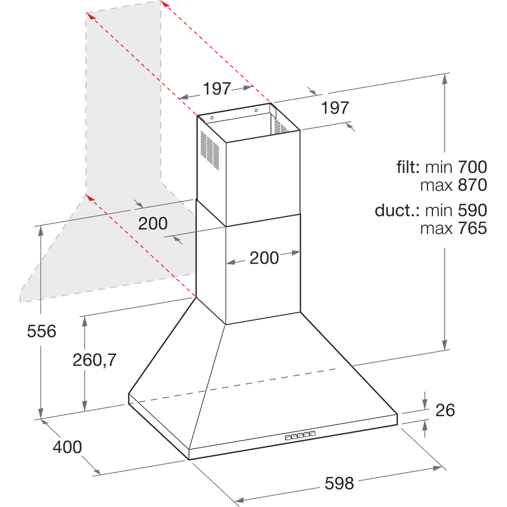 Indesit Cappa Da incasso IHPC 6.5 AM X Inox Montaggio a parete Meccanico Technical drawing