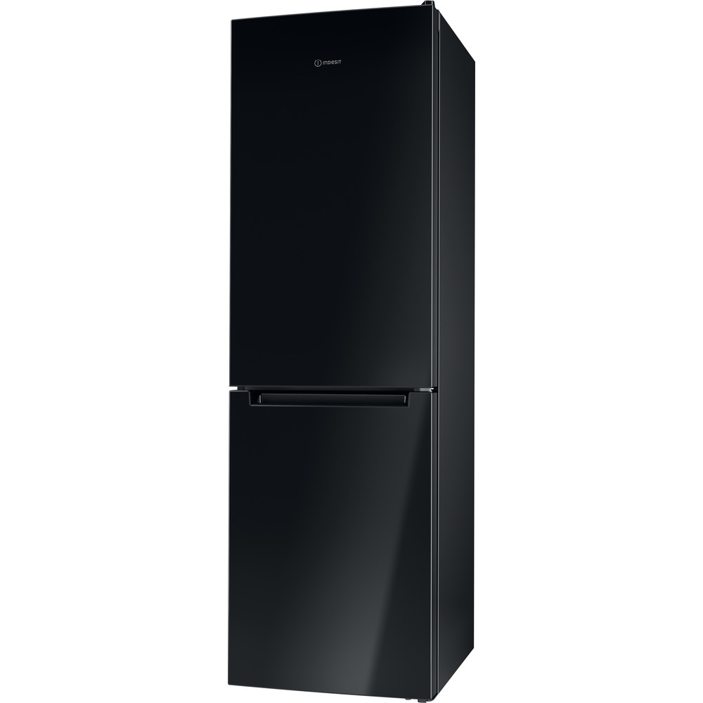 Indesit Комбиниран хладилник с камера Свободностоящи LI8 S2E K Черен 2 врати Perspective