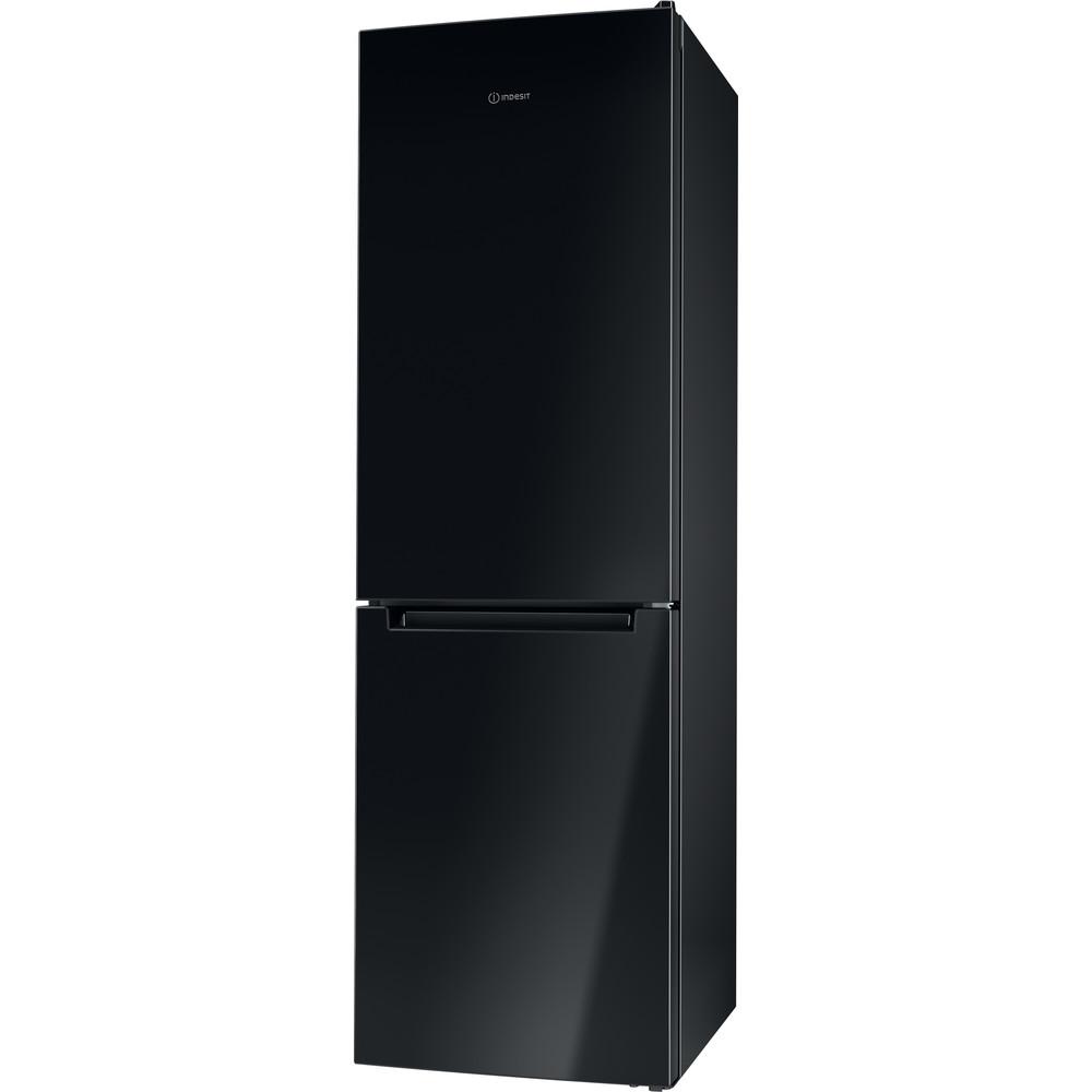 Indesit Réfrigérateur combiné Pose-libre LI8 S2E K Noir 2 portes Perspective