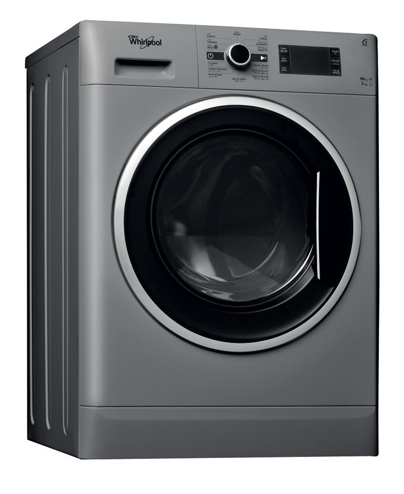 Whirlpool Washer dryer مفرد WWDC 10714 S Silver محمل أمامي Perspective