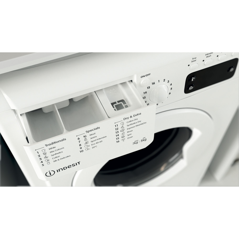 Indesit Washer dryer Free-standing IWDD 75145 UK N White Front loader Drawer