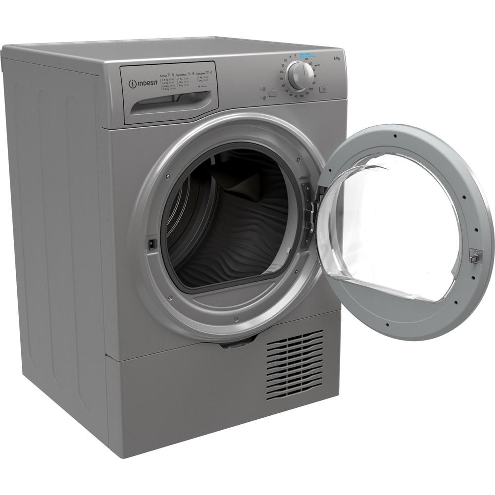 Indesit Dryer I2 D81S UK Silver Perspective open