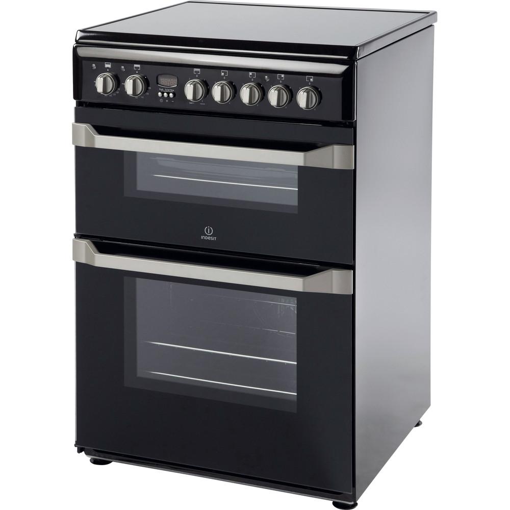 Indesit Double Cooker ID60C2(K) S Black B Vitroceramic Perspective
