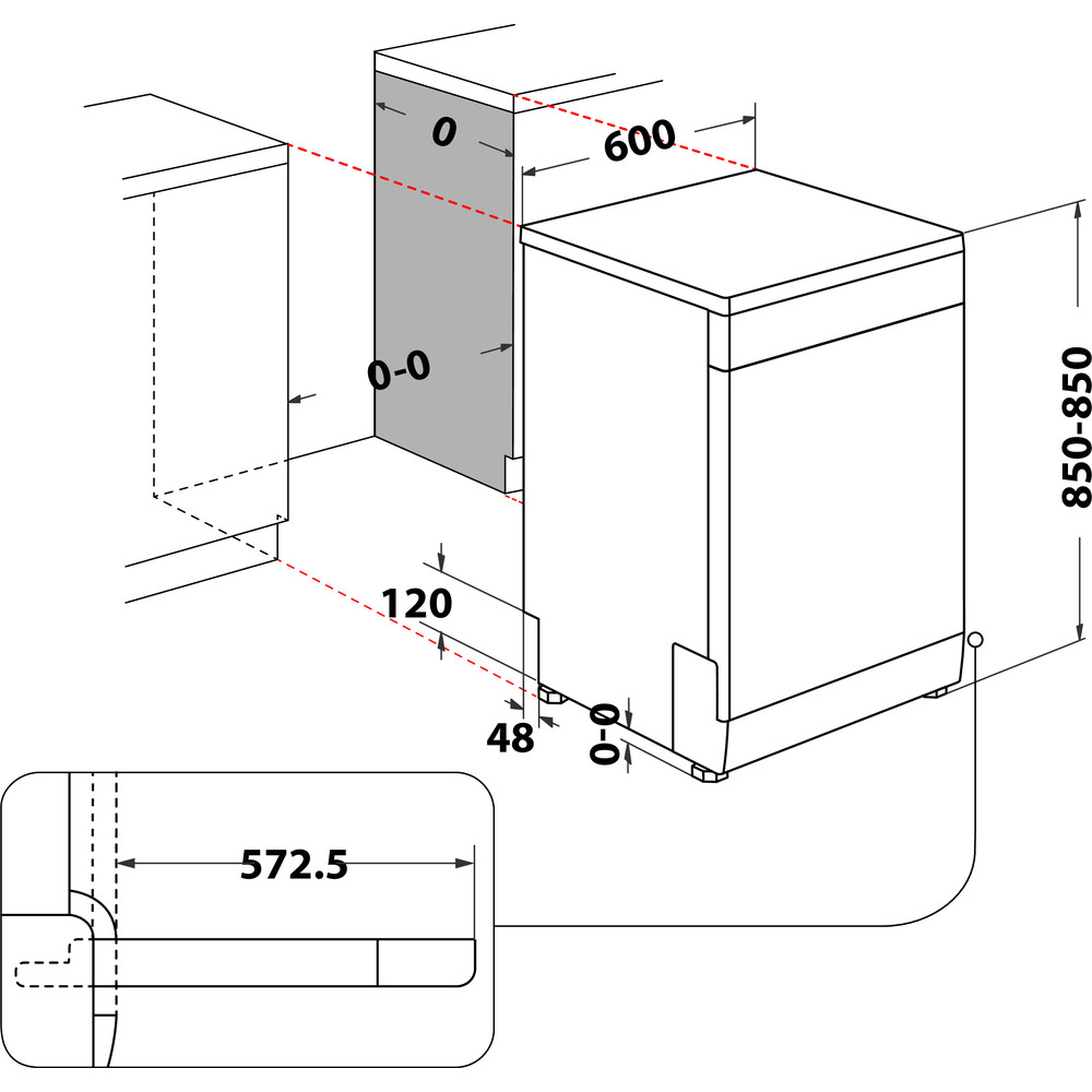 Indesit Vaatwasser Vrijstaand DFC 2C24 A X Vrijstaand E Technical drawing