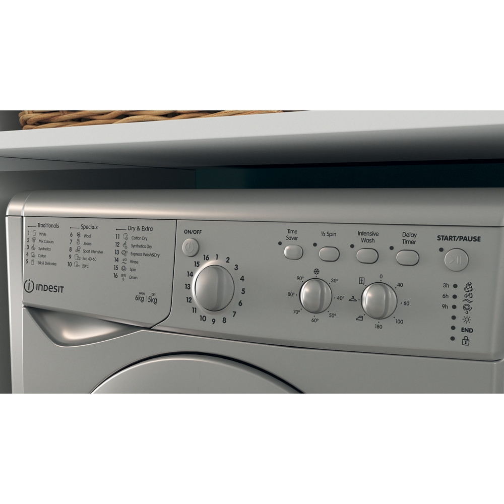 Indesit Washer dryer Free-standing IWDC 65125 S UK N Silver Front loader Lifestyle control panel