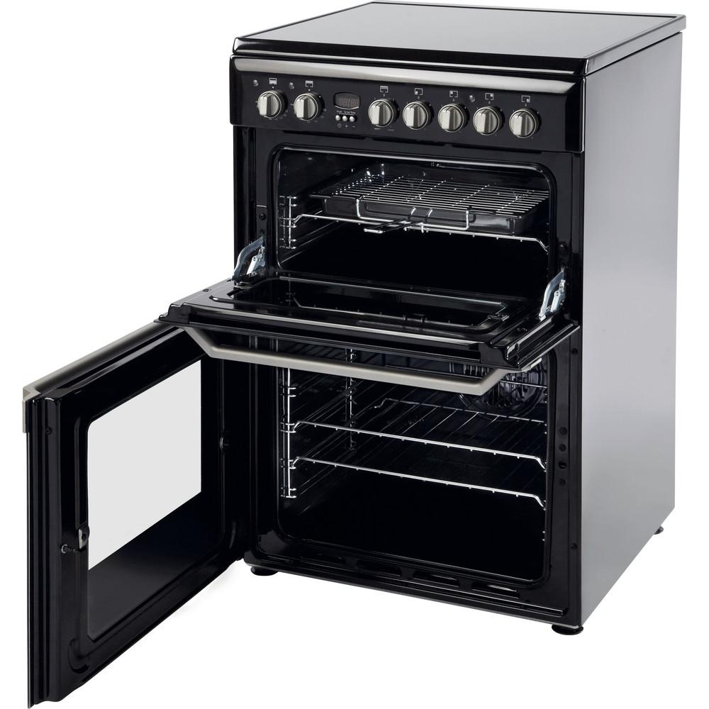 Indesit Double Cooker ID60C2(K) S Black B Vitroceramic Perspective_Open