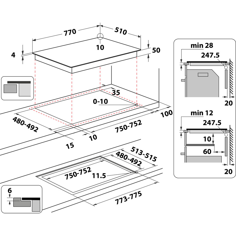 Indesit Piano cottura IB 21B77 NE Nero Induction vitroceramic Technical drawing