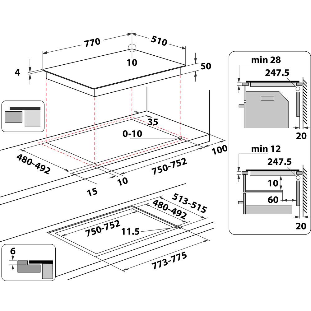 Indesit Table de cuisson IB 21B77 NE Noir Induction vitroceramic Technical drawing