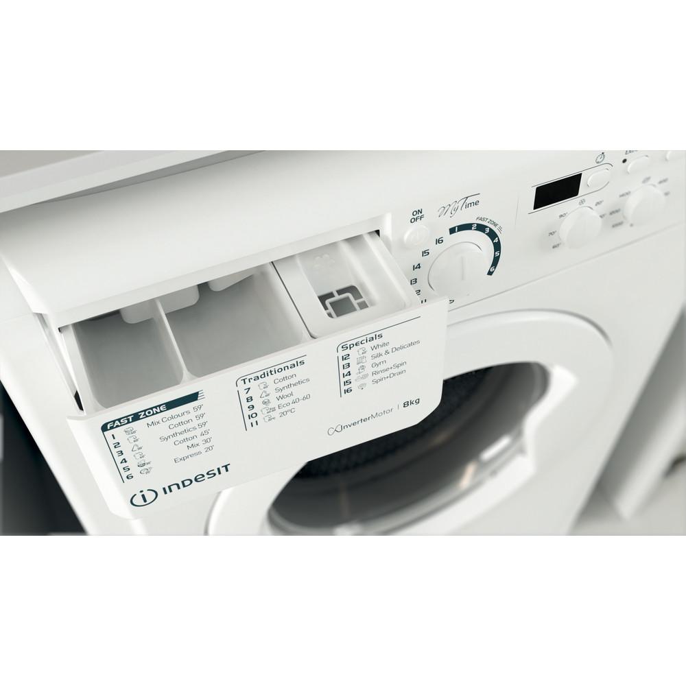 Indesit Washing machine Free-standing EWD 81483 W UK N White Front loader D Drawer