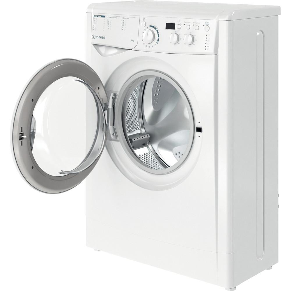 Indesit Veļas mazgājamā mašīna Brīvi stāvošs EWUD 41051 W EU N Balts Priekšējās ielādes F Perspective open