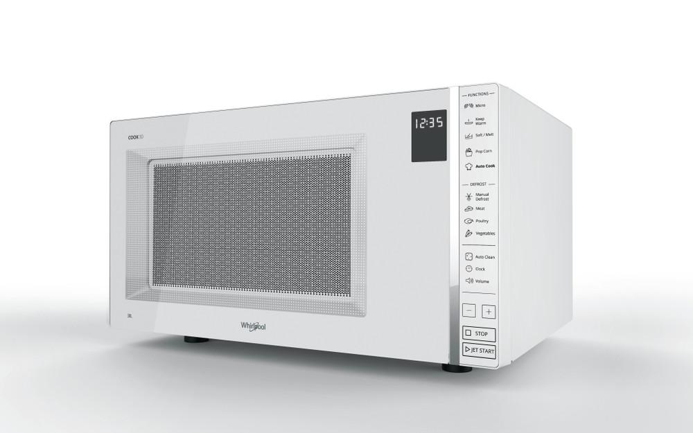 Whirlpool Mikrohullámú sütő Szabadonálló MWP 301 W Fehér Érintőszenzoros kezelés 30 Csak mikorhullám 900 Perspective