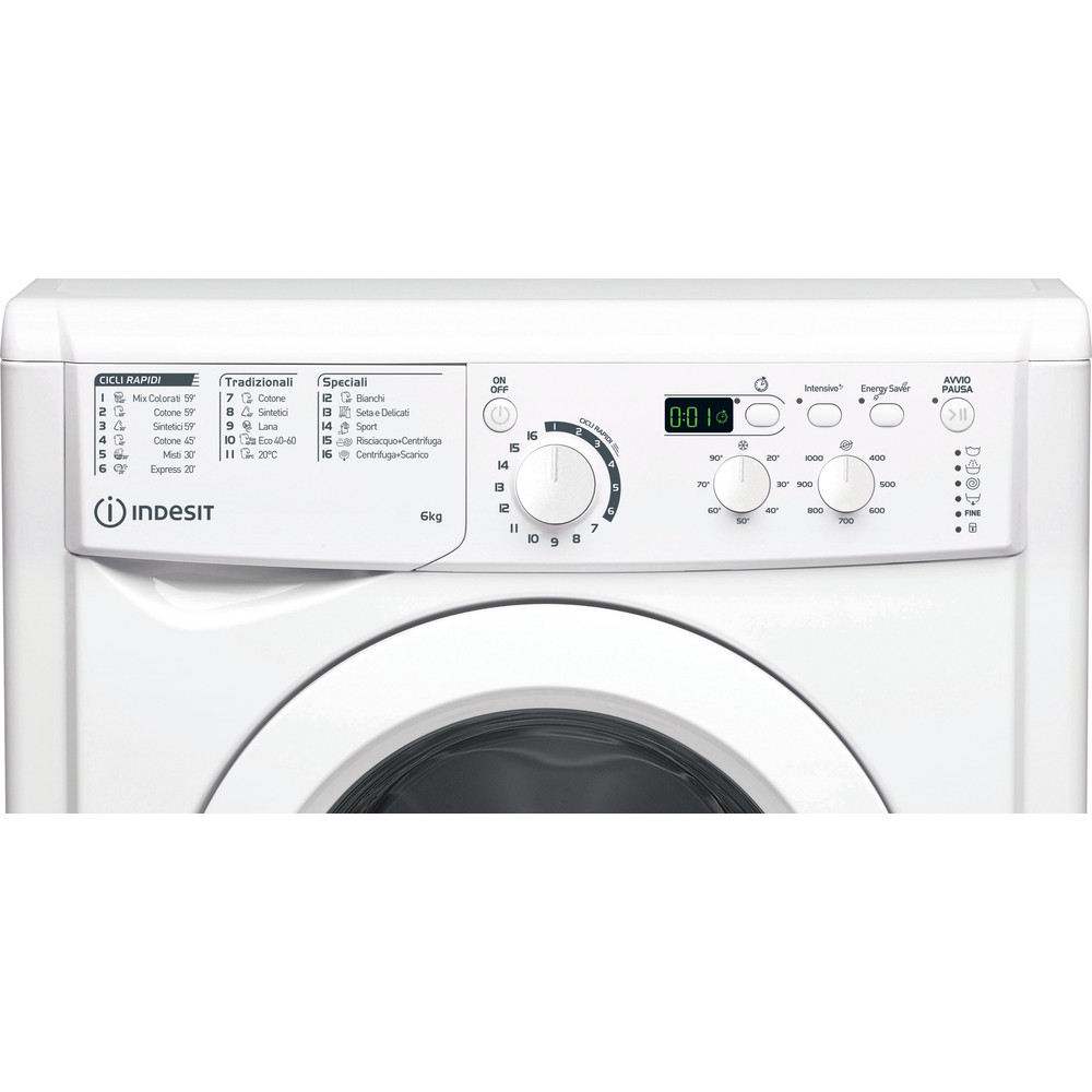 Indesit Lavabiancheria A libera installazione EWD 61051 W IT N Bianco Carica frontale F Control panel