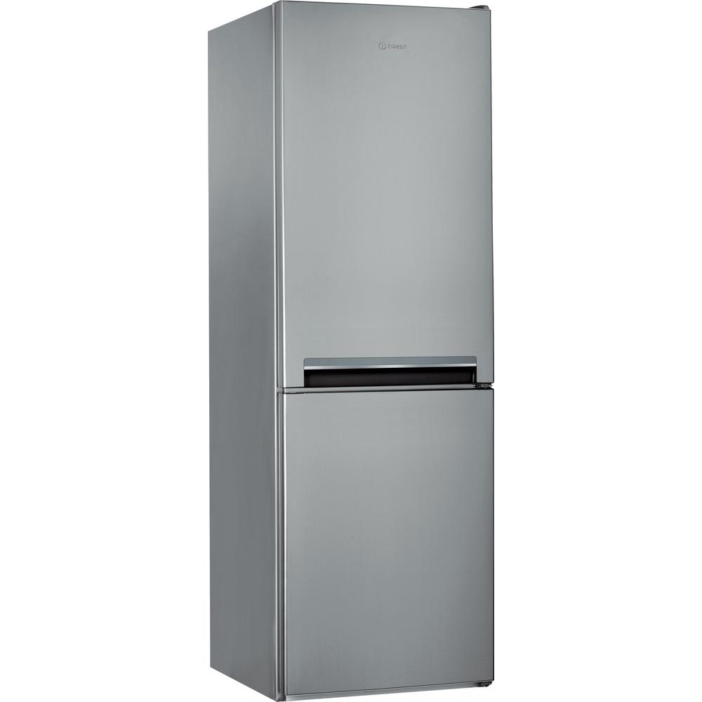 Indesit Combiné réfrigérateur congélateur Pose-libre LI7 S1E S Argent 2 portes Perspective