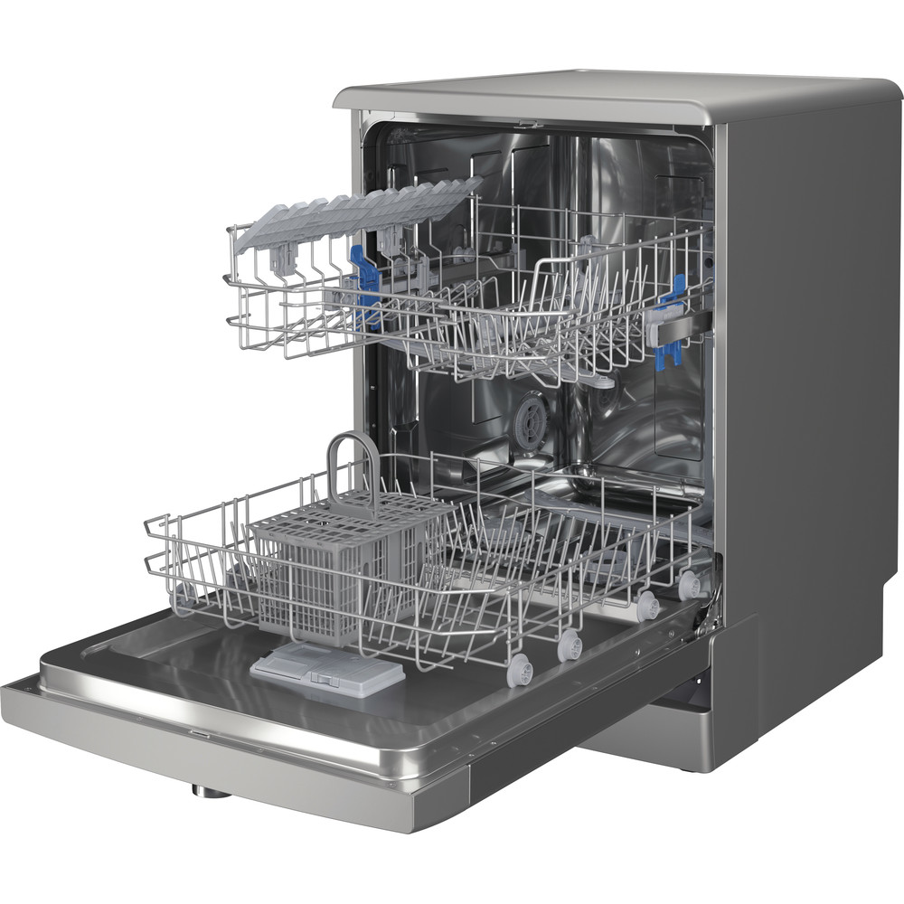 Indesit Dishwasher Free-standing DFE 1B19 X UK Free-standing F Perspective open