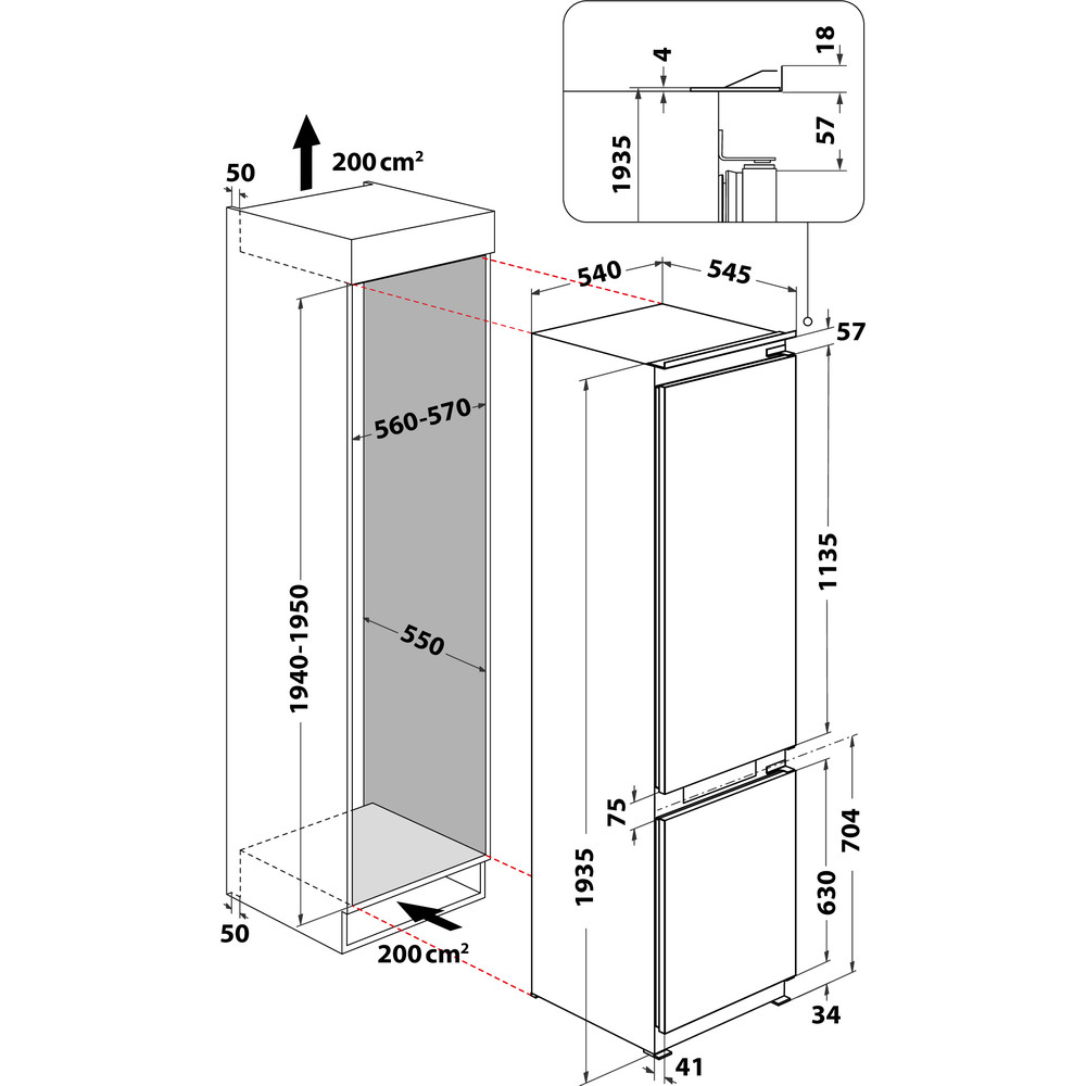 Indesit Combinazione Frigorifero/Congelatore Da incasso INC20 T332 Bianco 2 porte Technical drawing