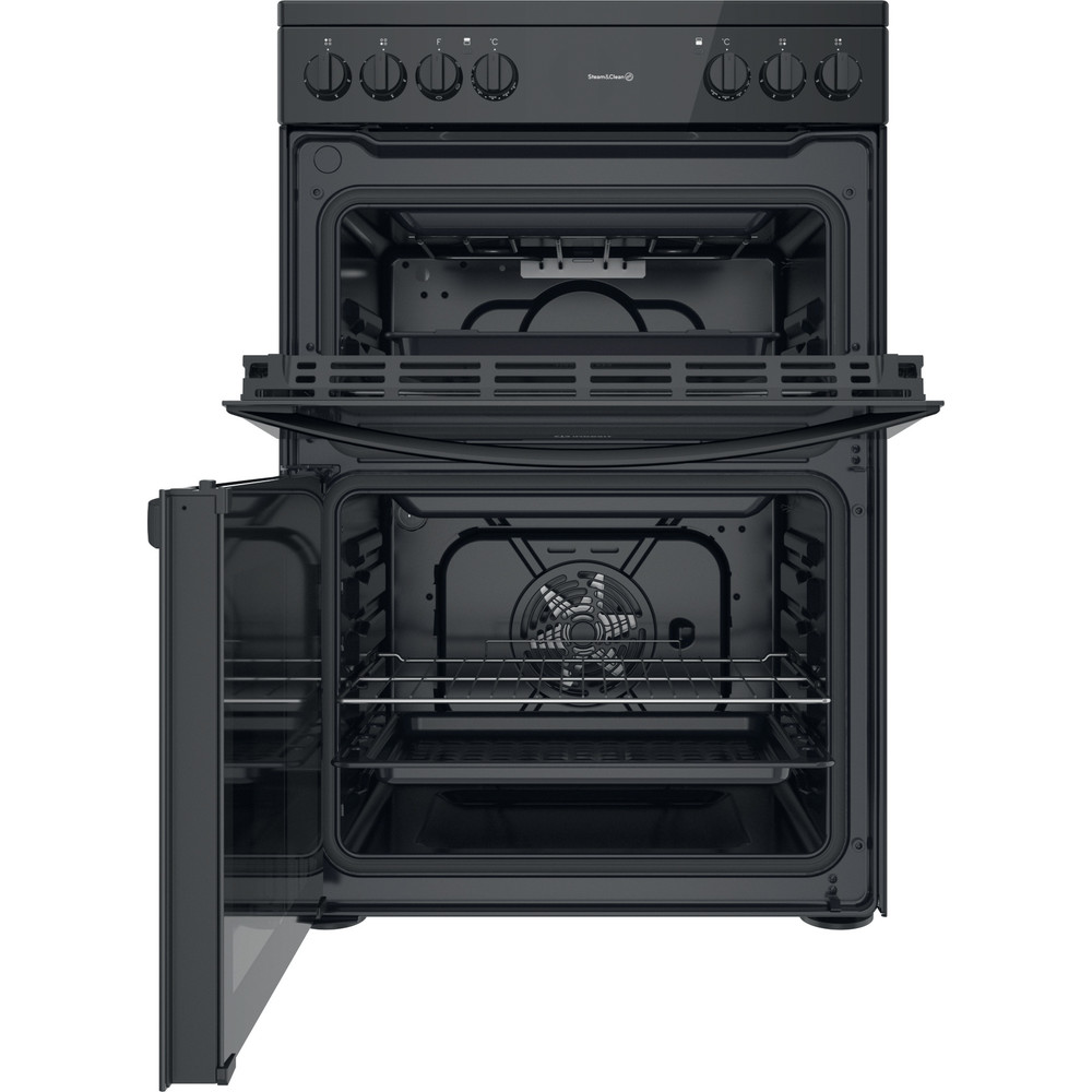 Indesit Double Cooker ID67V9KMB/UK Black A Frontal open