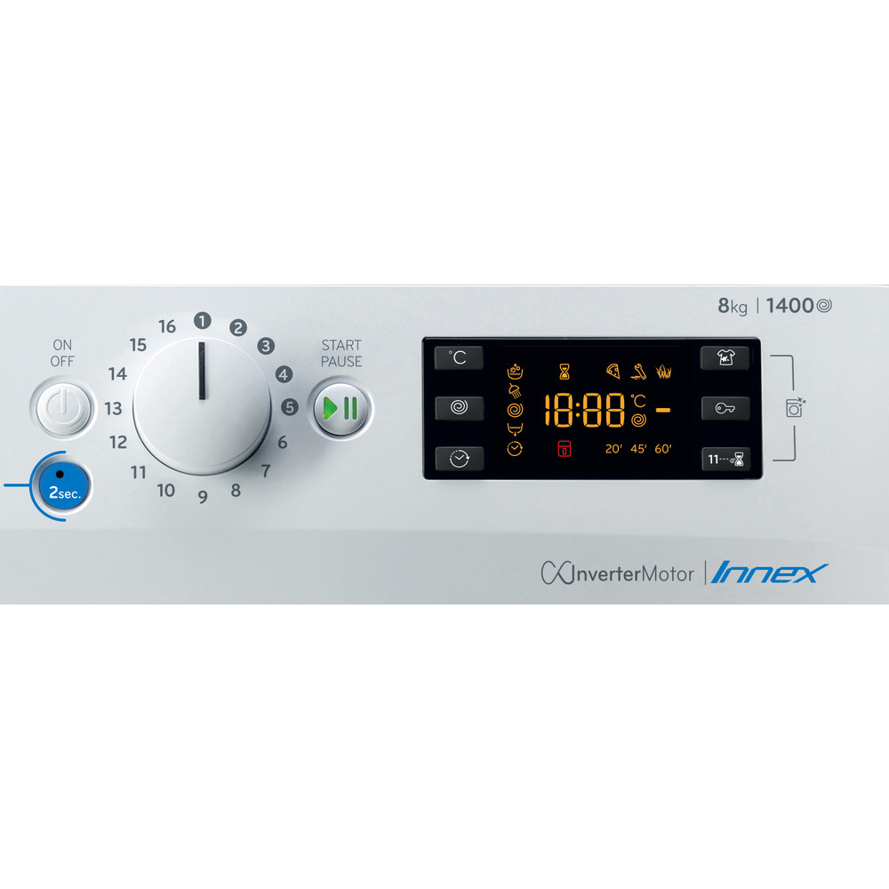 Indesit Πλυντήριο ρούχων Ελεύθερο BWE 81484X WS EE N Λευκό Front loader C Control panel
