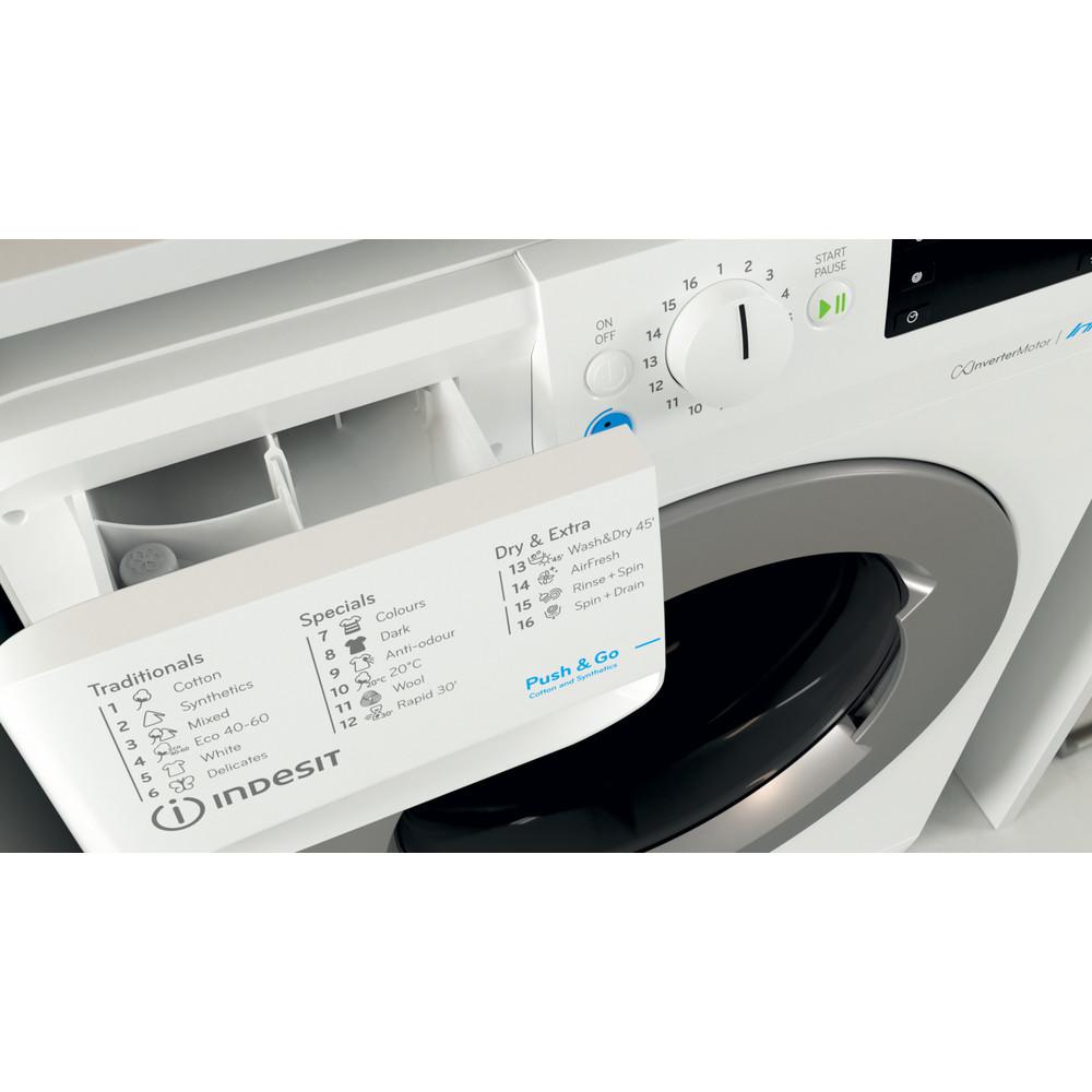 Indesit Pračka se sušičkou Volně stojící BDE 761483X WS EE N Bílá Front loader Drawer
