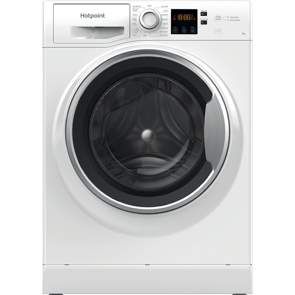 Hotpoint Washing machine Free-standing NSWE 742U WS UK N White Front loader A+++ Frontal