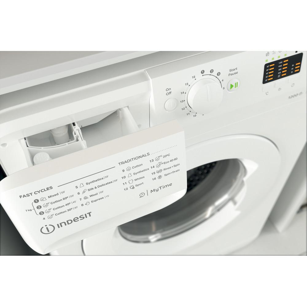 Indsit Maşină de spălat rufe Independent MTWA 71252 W EE Alb Încărcare frontală E Drawer
