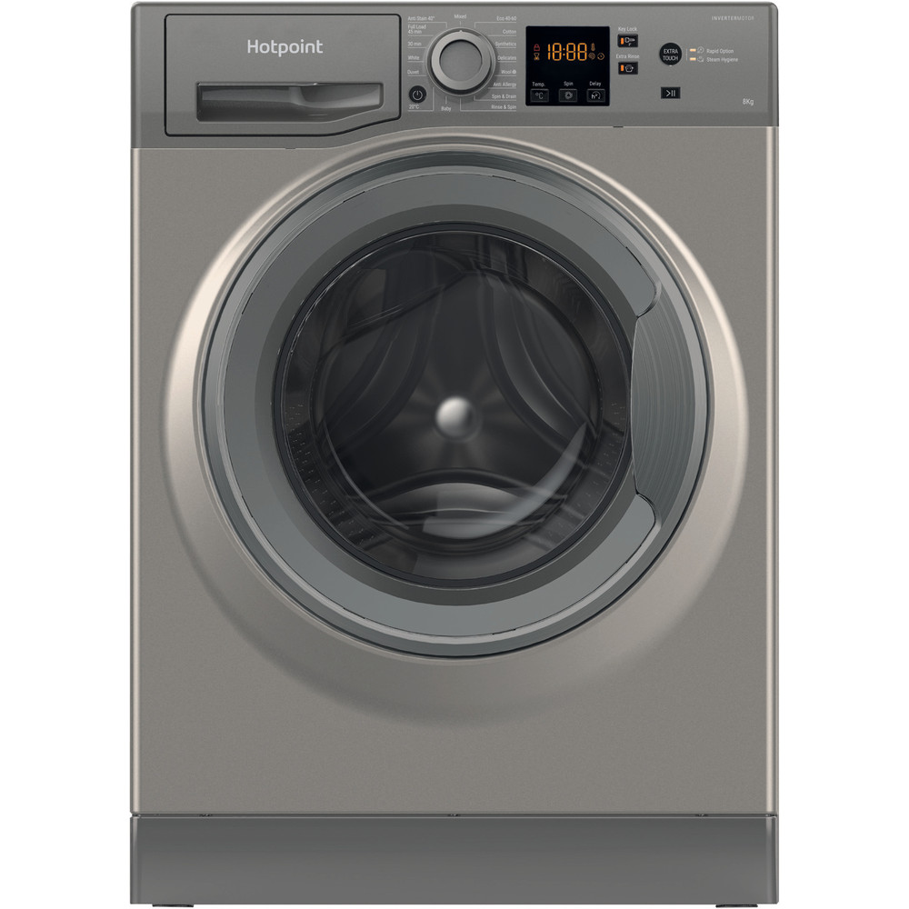 Hotpoint Washing machine Free-standing NSWR 843C GK UK N Graphite Front loader A+++ Frontal