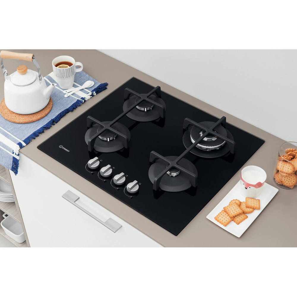 Indesit Table de cuisson ING 62T/BK Noir GAS Lifestyle perspective