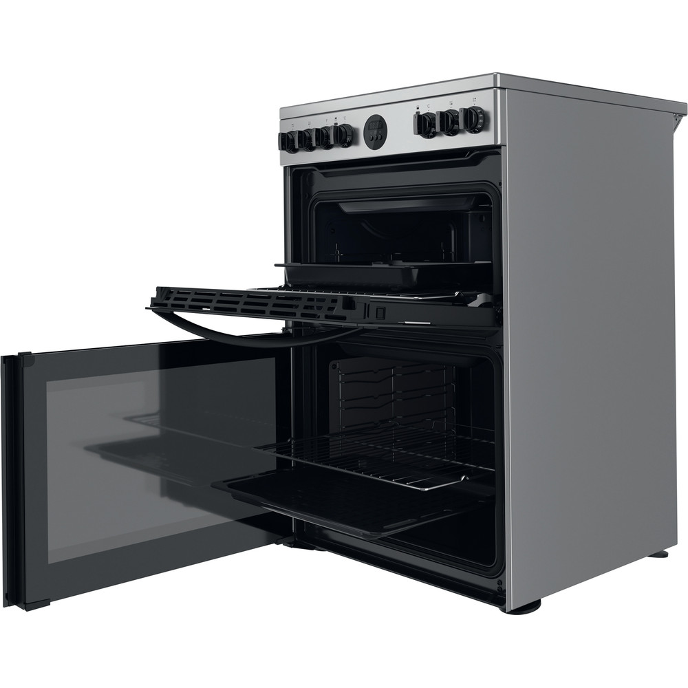 Indesit Double Cooker ID67V9HCX/UK Inox A Perspective open
