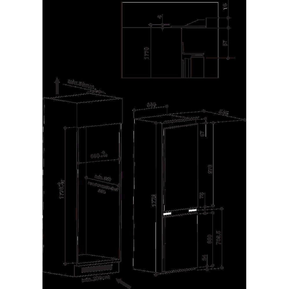 Indesit Combinazione Frigorifero/Congelatore Da incasso B 18 A1 D/I Acciaio 2 porte Technical drawing