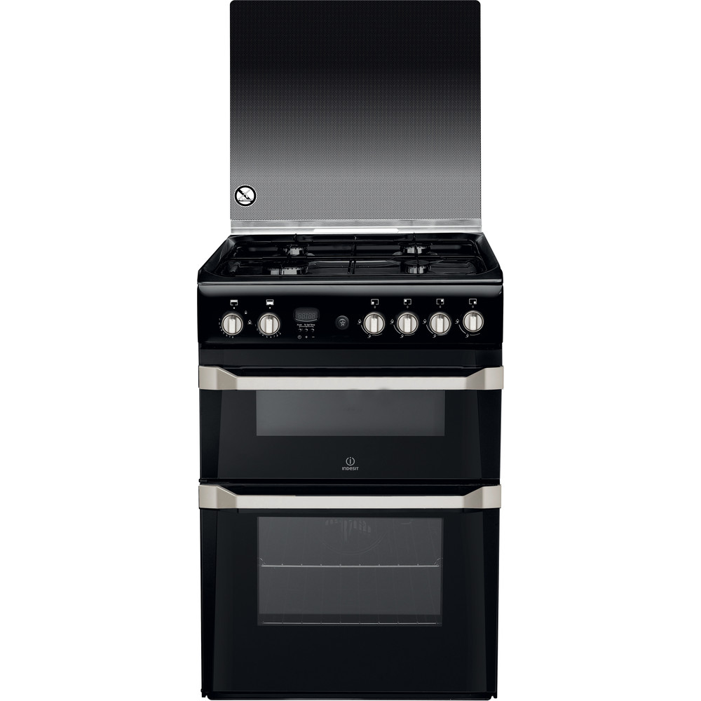 Indesit Double Cooker ID60G2(K)/UK Black A+ Enamelled Sheetmetal Frontal