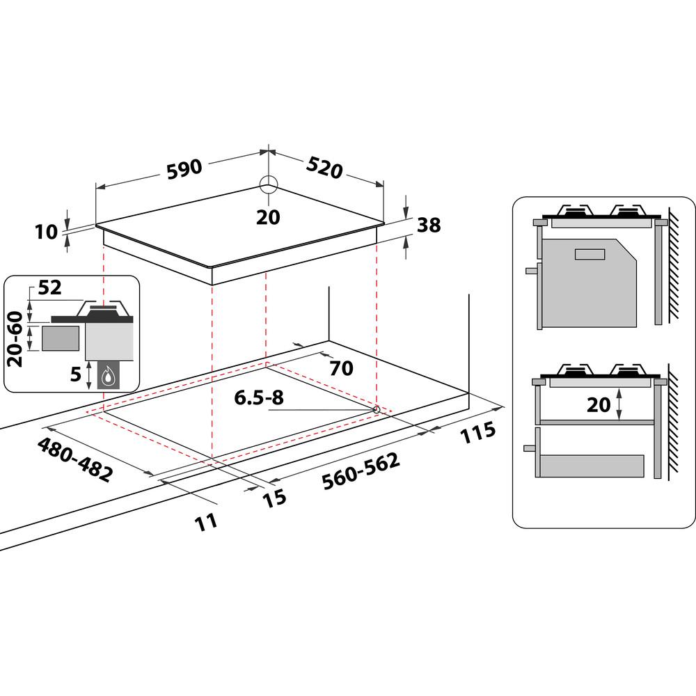 Indesit Варочная поверхность PN 641 /I (OW) Винтажный белый Газовая Technical drawing